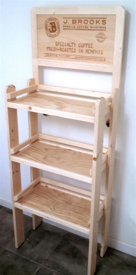 Folding Corner Bookcase by Rustic Wood Retail Store Product Display Fixtures