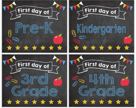 day  school signs pre   printable red morning