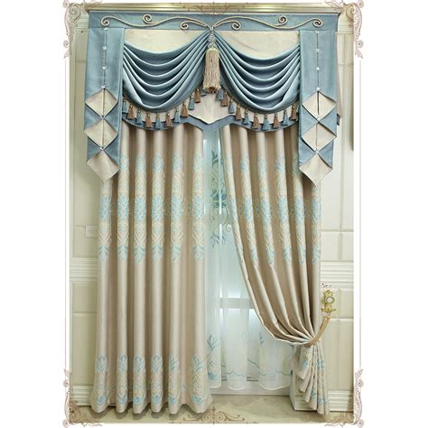 blue floral embroidery linen custom funky valance curtains