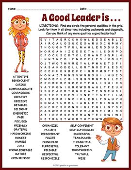 leadership word search worksheet  puzzles  print tpt