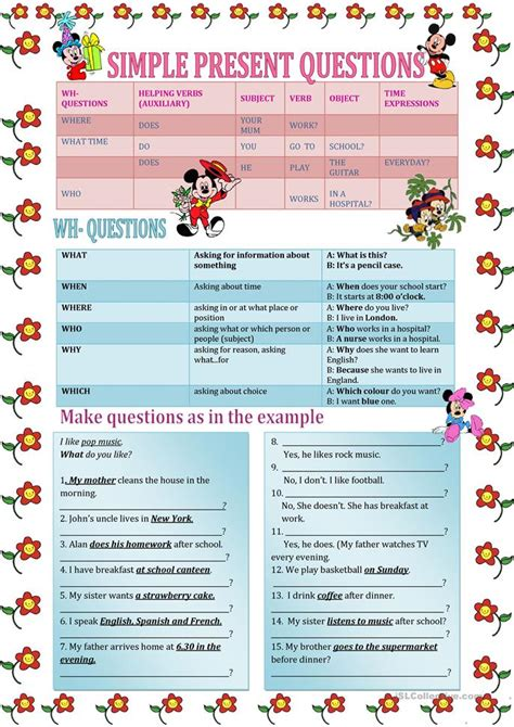 question words wh questions worksheet  esl