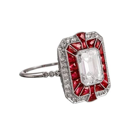 deco ruby ring and ruby deco style ring in platinum at 1stdibs