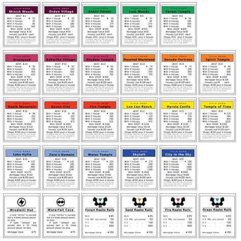 monopoly properties zelda  monopoly games