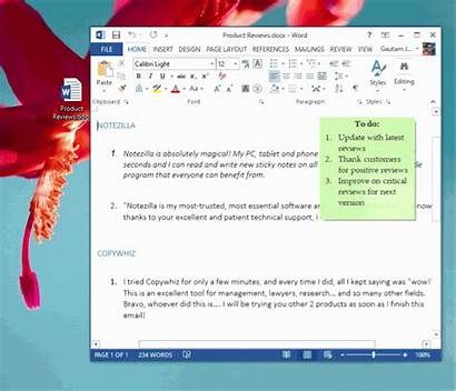Word Sticky Notes Document Microsoft Window Attaching