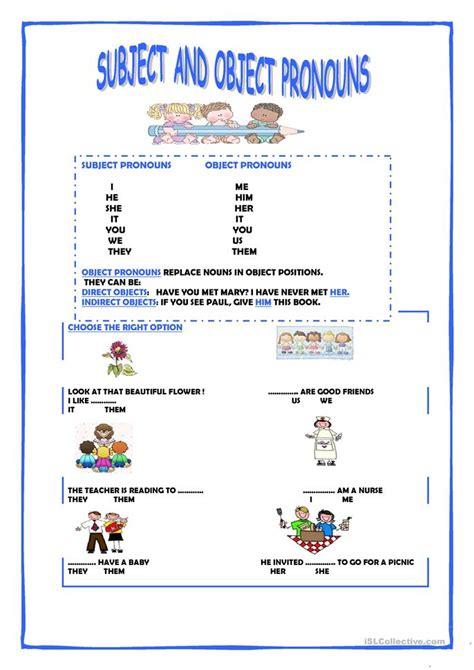 subject  object pronouns worksheet  esl printable