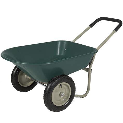 2 wheel garden cart best choice products dual wheel home wheelbarrow yard 3824