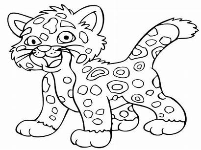 Coloring Animal Pages Leopard Cartoon