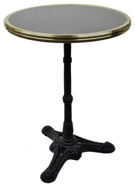 bistro table black granite and iron base