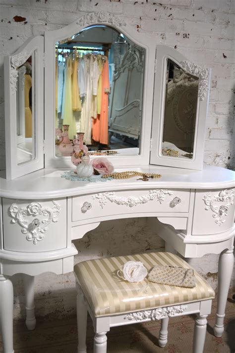 Shabby Chic Vanity Stool by Painted Cottage Chic Shabby Vanity And Mirror And