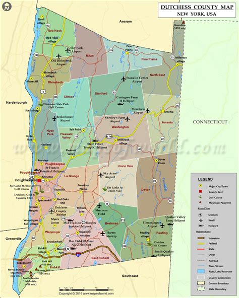 dutchess county map map  dutchess county  york