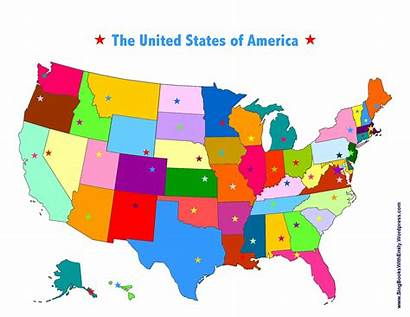 Capitals Map Usa Clipart States United Printable