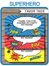 superhero party favor tags template   tags