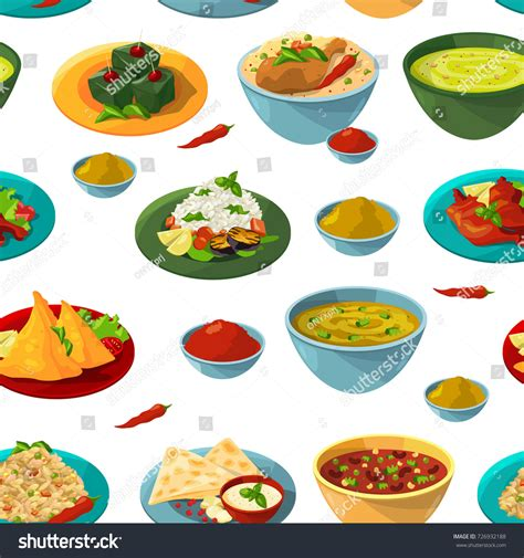 aroma indian cuisine indian national foods vector seamless pattern stock vector