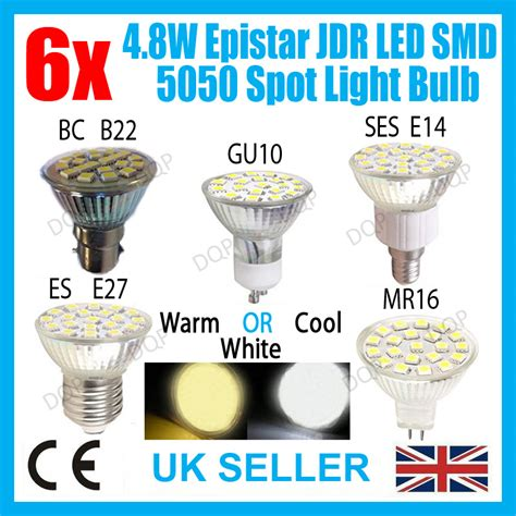 6x 4 8w led spot light bulbs uk stock day or warm white replaces halogen ls ebay