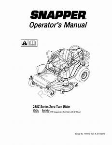 Snapper 285z Lawn Mower User Manual