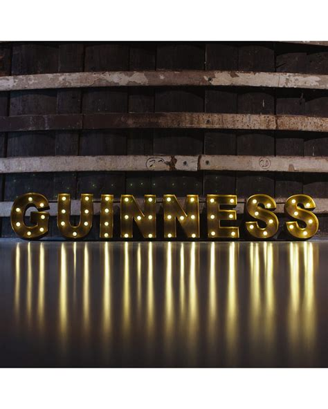 guinness large distressed effect light bulb sign