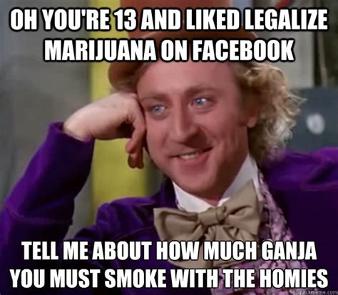 Legalize Weed Meme - oh you re 13 and liked legalize marijuana on facebook tell me about how much ganja you must