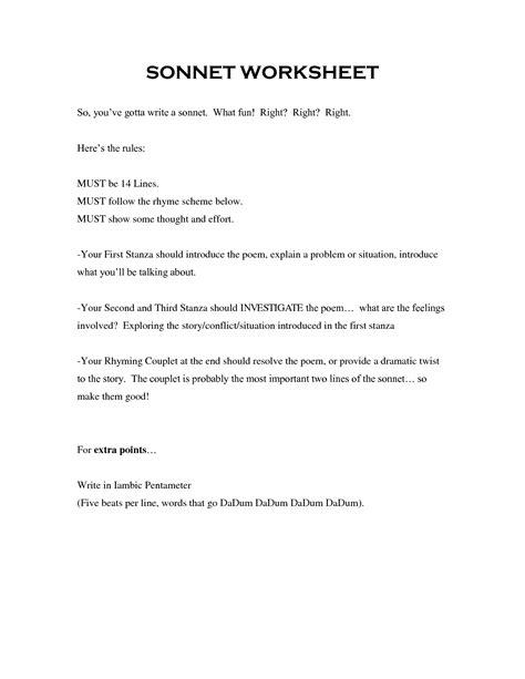 15 best images of sle sonnets worksheet rhyme scheme