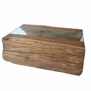 Table Basse Tronc : table basse bois design tronc de teck creux naturellement et verre 70cm ~ Teatrodelosmanantiales.com Idées de Décoration