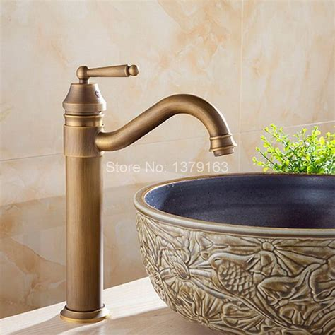 vintage kitchen sink faucets antique brass gooseneck single handle swivel kitchen 6831