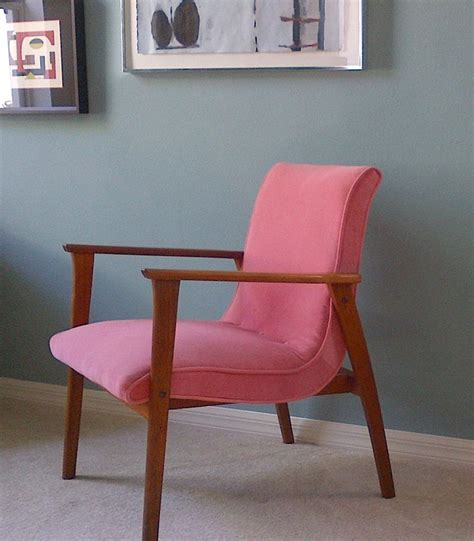 free shipping mid century modern chair in pink