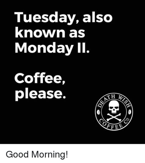 Because without coffee, we're not quite as alert as we could be. Tuesday Also Known as Monday II Coffee Please TH Good Morning! | Meme on SIZZLE