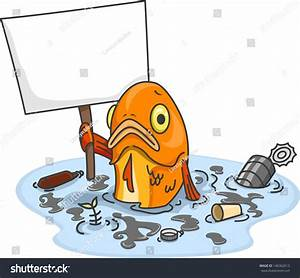 Illustration Sad Fish Polluted Water Carrying Stock Vector ...