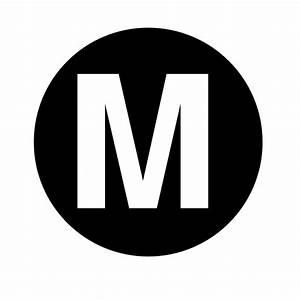 white letter m centered inside black circle clip art at With white letter m