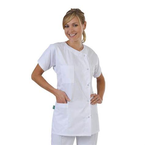 blouse medicale classique femme tissu serge blanc label blouse net
