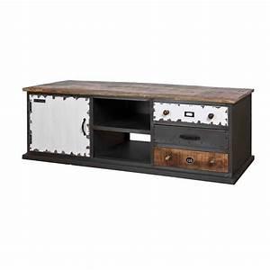 Schrank Metall Holz : lowboard fernsehschrank im industriedesign tv schrank aus metall holz schwarz wei ~ Indierocktalk.com Haus und Dekorationen
