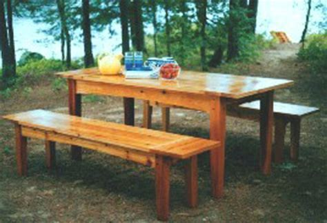 outdoor harvest table  benches plan downloadable