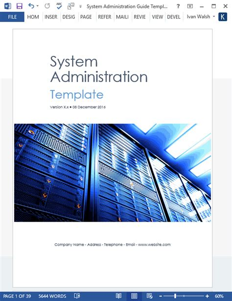 system administration guide template ms word  excels