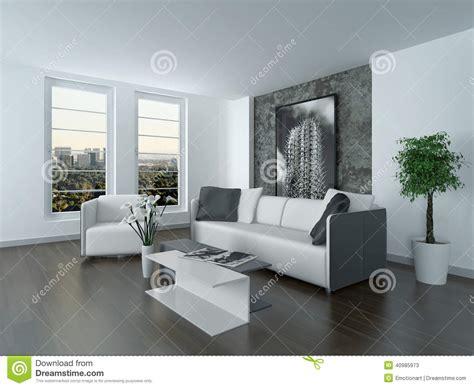 decoration sejour gris et blanc modern grey and white sitting room interior stock illustration image 40985973