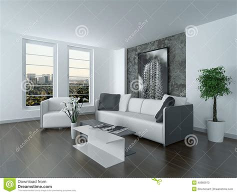 Modern Grey And White Sitting Room Interior Stock