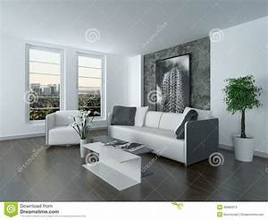 modern grey and white sitting room interior stock With interieur gris et blanc