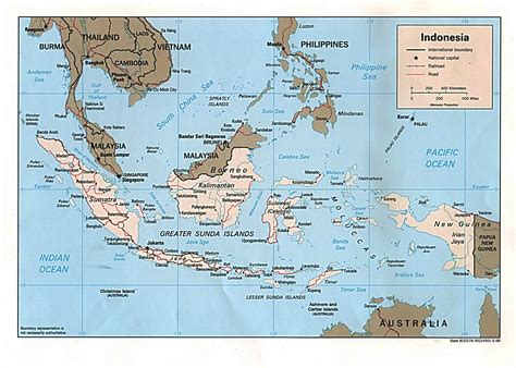 detailed political map  indonesia indonesia detailed