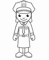 Police Coloring Pages Officer Policeman Printable Woman Drawing Cartoon Clipart Officers Community Cliparts Army Crafts Library Helpers Colouring Sheets Da sketch template