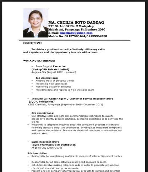 resume sle for fresh graduate philippines resumes design