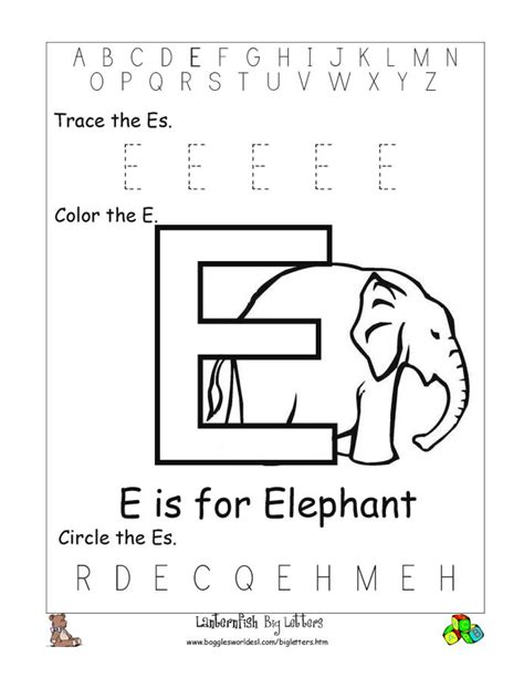 6 best images of printable preschool worksheets letter e