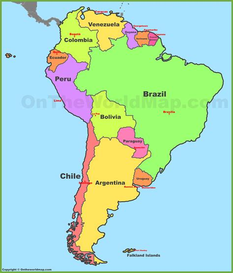 map of south america and capitals roundtripticket me