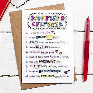 boyfriend criteria card by eskimo kiss designs notonthehighstreet