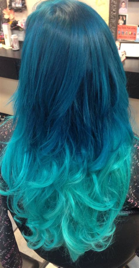 Turquoise Pastel Ombré Hair With Extensions Added In For