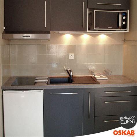 cuisine de studio cuisine grise porte effet touch ginko gris mat