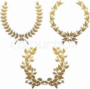 Set of gold laurel wreaths for design | Stock Vector ...