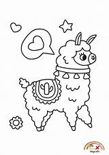 Llama Coloring Kawaii Blogx Info sketch template