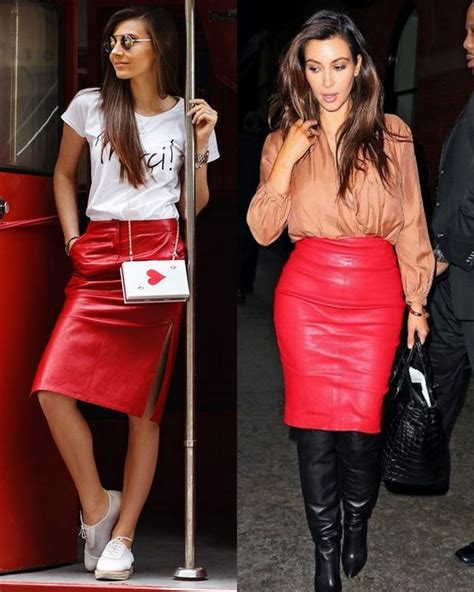 Red Leather Skirt Outfit | Fashion Skirts