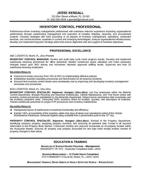 best ideas of inventory management resume sles