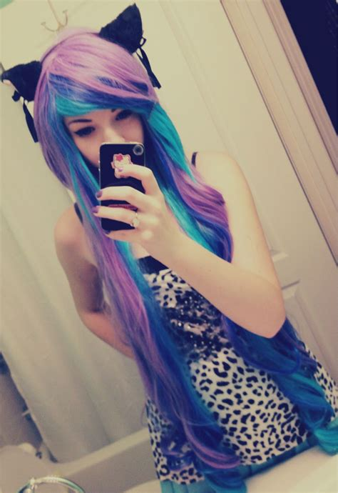 Purple And Blue Hair I Want My Hair To Be That Long