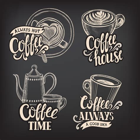 chalkboard logo templates free coffee logos design with chalkboard background vector 01