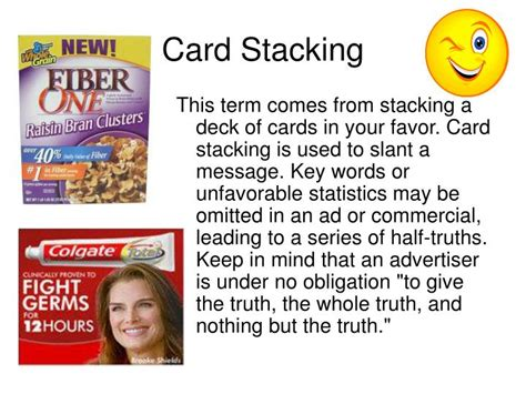 stacking the deck fallacy commercial ppt propaganda powerpoint presentation id 3099641